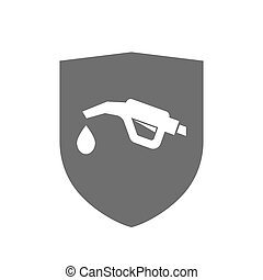 Isolated shield with a gas hose icon
