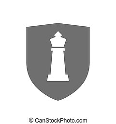 Isolated shield with a  king   chess figure