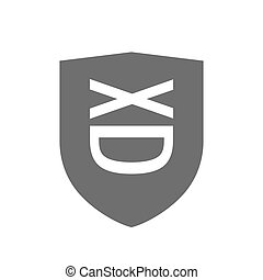 Isolated shield with   a laughing text face