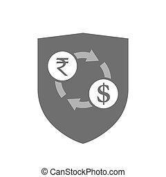 Isolated shield with  a rupee and dollar exchange sign