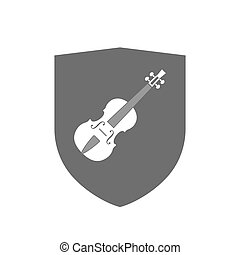 Isolated shield with a violin