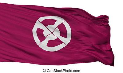 Isolated Shimabara city flag, prefecture Nagasaki, Japan -...
