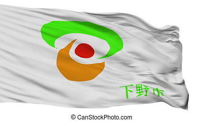 Isolated Shimotuke city flag, prefecture Tochigi, Japan -...