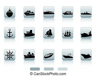 ship boat icon buttons set