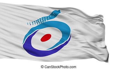 Isolated Shirakwa city flag, prefecture Fukushima, Japan -...