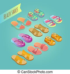 Isolated shoes for children. Summer shoe icons set.