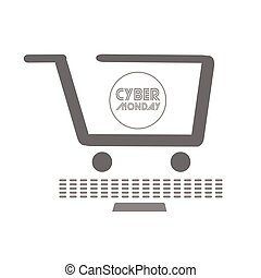 Isolated shopping cart, Cyber monday vector illustration