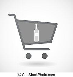 Isolated shopping cart icon with a bottle of wine