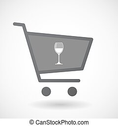 Isolated shopping cart icon with a cup of wine