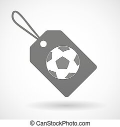 Isolated shopping label icon with a soccer ball