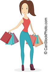 Isolated shopping woman. - Isolated shopping woman with...