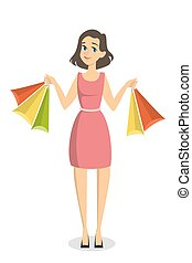 Isolated shopping woman. - Isolated shopping woman with bags...