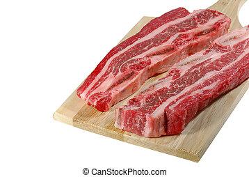 Short ribs on a cutting board