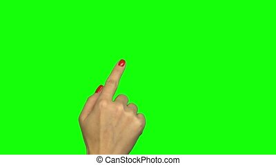 Isolated shot of a female hand on a green screen doing touch...