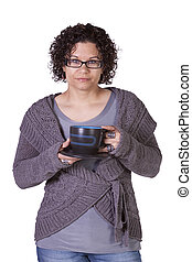 Woman Drinking Coffee Standing Up