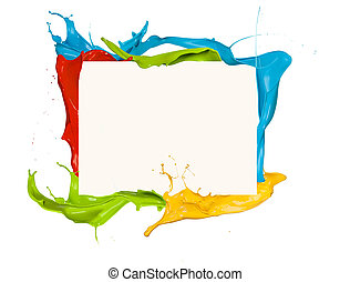 Isolated shot of colored paint frame splash on white ...