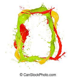 Isolated shot of colored paint frame splash on white ...