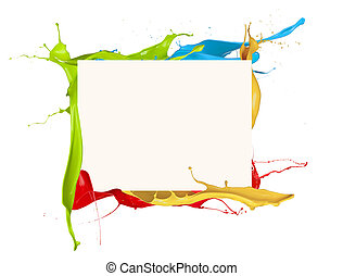 Isolated shot of colored paint frame splash on white background
