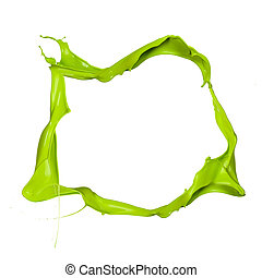 Isolated shot of green paint splash frame on white background