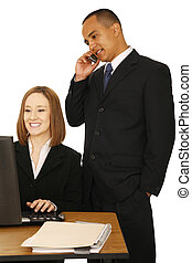 Isolated Shot Of Two Business People