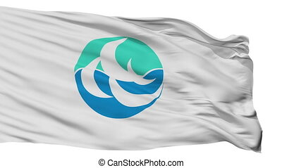 Isolated Shunan city flag, prefecture Yamaguchi, Japan -...