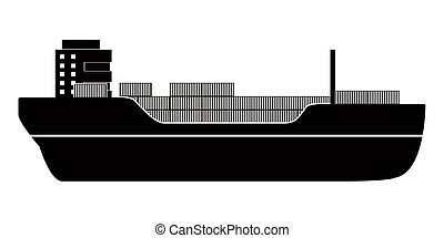 Isolated side view of a cargo ship icon