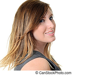 sideview portrait teen girl