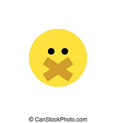 Isolated Silent Flat Icon. Hush Vector Element Can Be Used For Hush, Silent, Smile Design Concept.