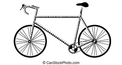 Isolated silhouette of a bicycle