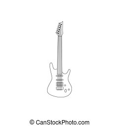 Isolated silhouette of an electric guitar