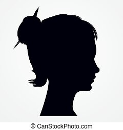 Isolated silhouette of woman head with  flowing hair.