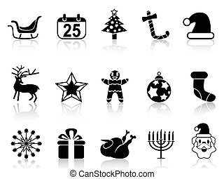simple black christmas icons set