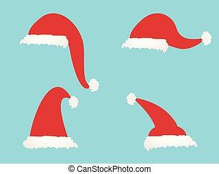 simple cartoon Christmas hat icons