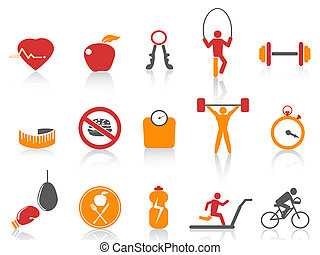 simple fitness icons set, orange color series