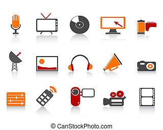 simple media tools icon set