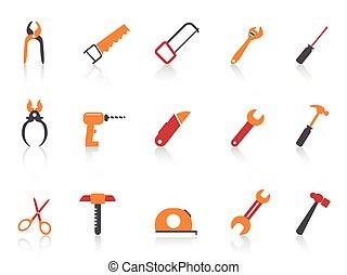 simple orange color hand tool icons set