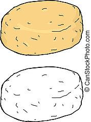 Isolated Single Biscuit - Isolated single biscuit on white...