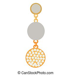 Isolated single earring on a white background, Vector...