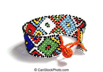 Isolated Single Traditional Bright Beadwork Zulu Bracelet - ...