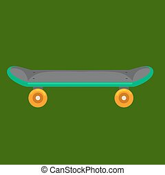 isolated skateboard with wheel for active lifestyle, extreme sport youth activity, balance street transport vector illustration
