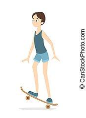Isolated skateboarding girl.