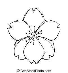 Isolated sketch of a flower
