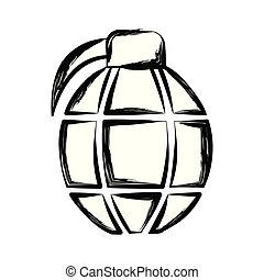 Isolated sketch of a hand grenade