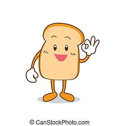 Isolated Slice of bread cartoon