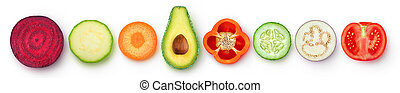 Isolated slices of vegetables in a row