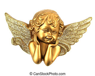 Isolated small Angel - Small Gold Angel isolated on white...