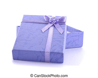 isolated small present box in white
