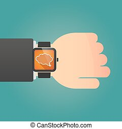 Isolated smart watch icon with a comic cloud balloon
