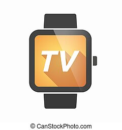 Isolated smart watch with    the text TV