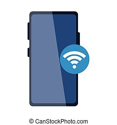 Isolated smartphone and wifi icon vector design